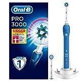 Oral-B Pro 3000 Elektrische Zahnbürste (mit Visueller Andruckkontrolle und 2 Aufsteckbürsten) weiß/blau