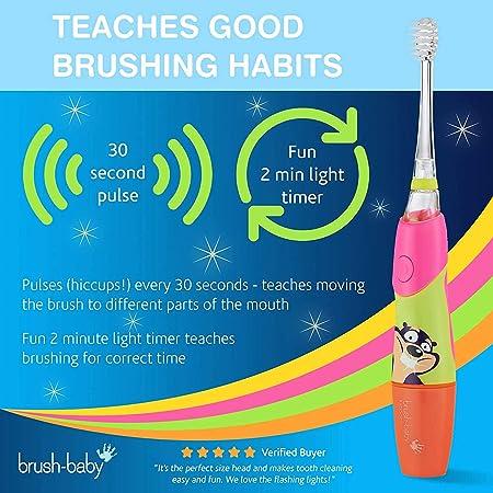 Cepillo de dientes eléctrico KidzSonic de Brush-Baby | Niños | +3 años | ¡Luces, vibración y temporizador de 2 min hacen que cepillarse sea divertido! | Rosa, con 3 cabezales de reemplazo