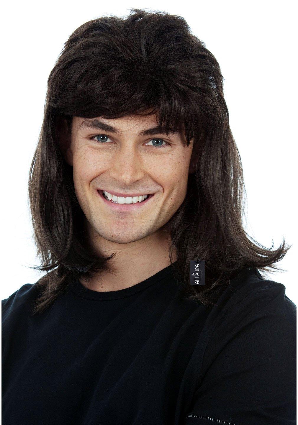 ALLAURA Waynes World Wig – Wayne Campbell Hair – Black Mullet Wigs for Men 80s Redneck