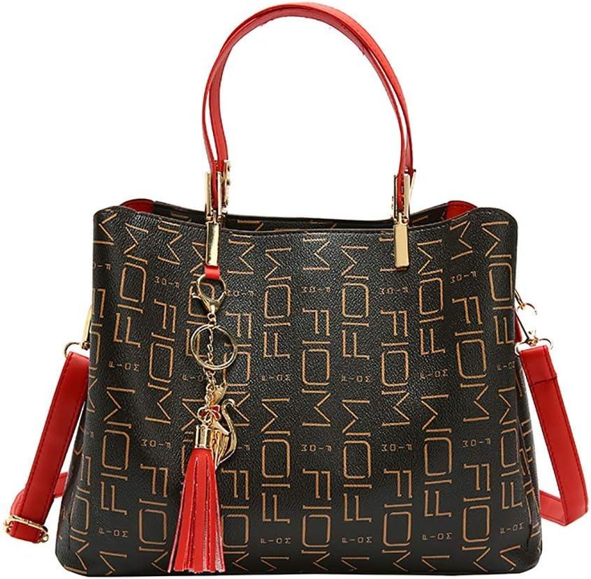 Red KingWo Shoulder Bag with Tassel Keychian Women Hobo Bags Leather Tote Shoulder Handbags Large Purses