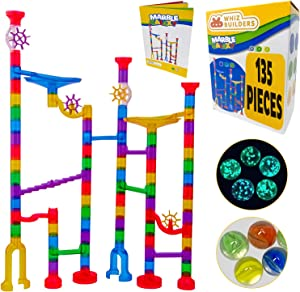 Marble Run Sets Kids Activities - 135pcs Translucent Race Maze Track Games - Fun Glow in Dark Glass Marbles Galaxy - Indoor Educational Learning Building Construction STEM Toy Gift Boy Girl All Ages