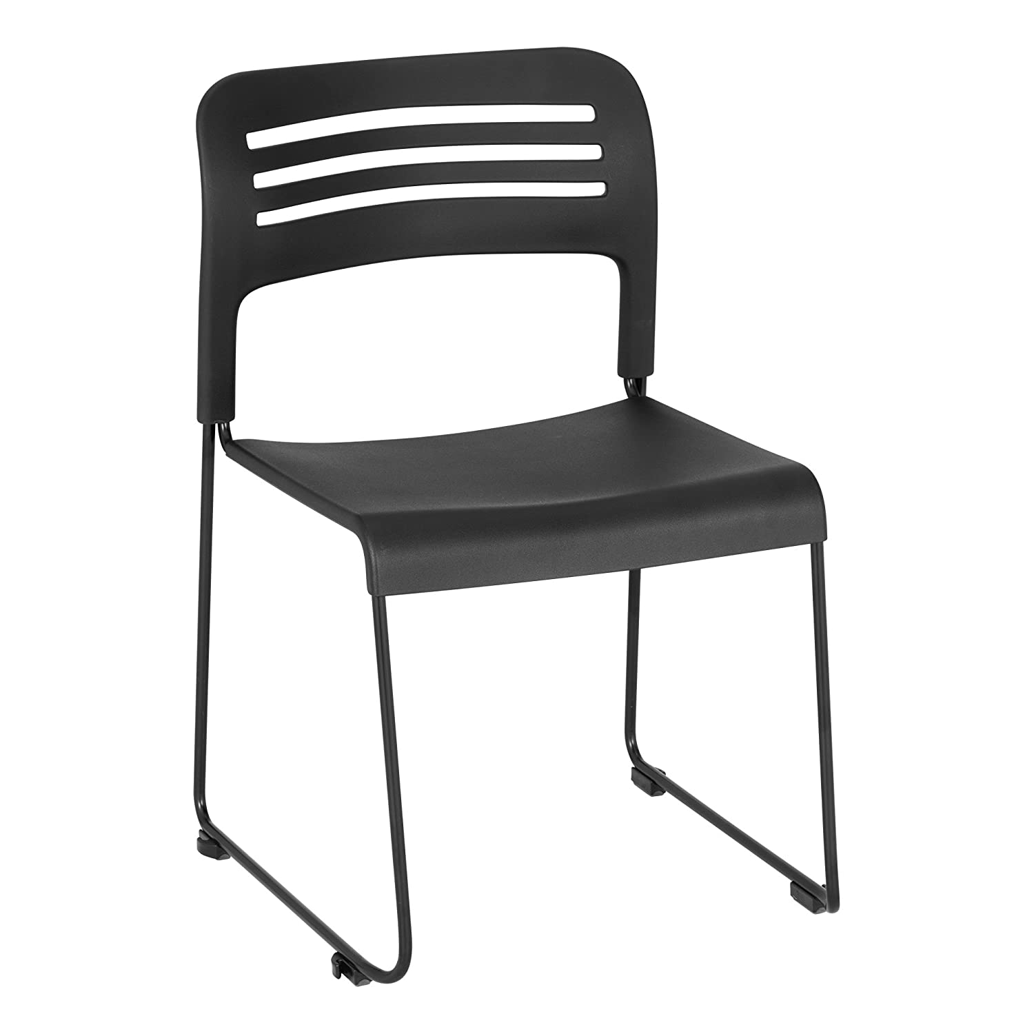 Pack of 2 Wave Back Vinyl Seat Stack Chair with Sled Base Black//Silver