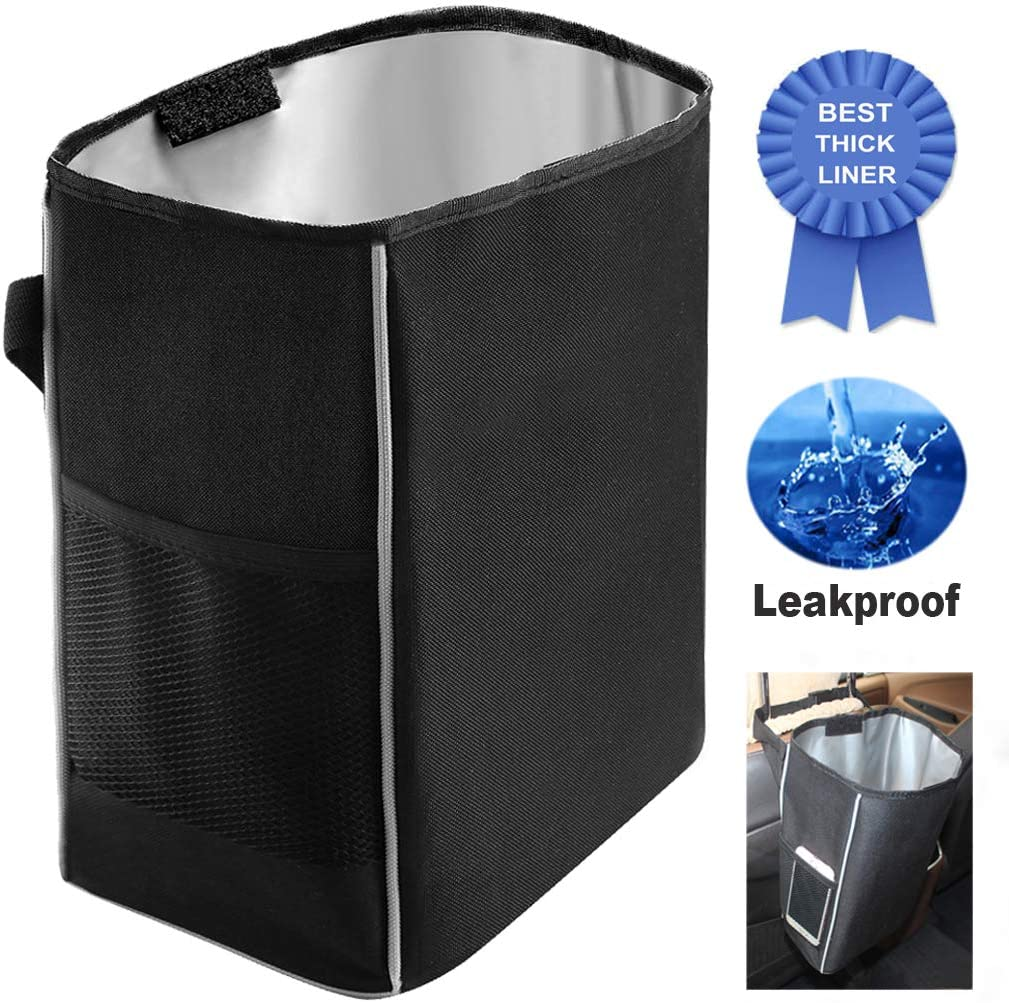 Autos Black Basket Trash Can Bag Car Garbage Leak Proof Bin Wastebasket Holder