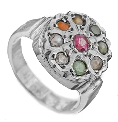 Buy Exotic India Navaratna Ring Sterling Silver Ring Size 9 5