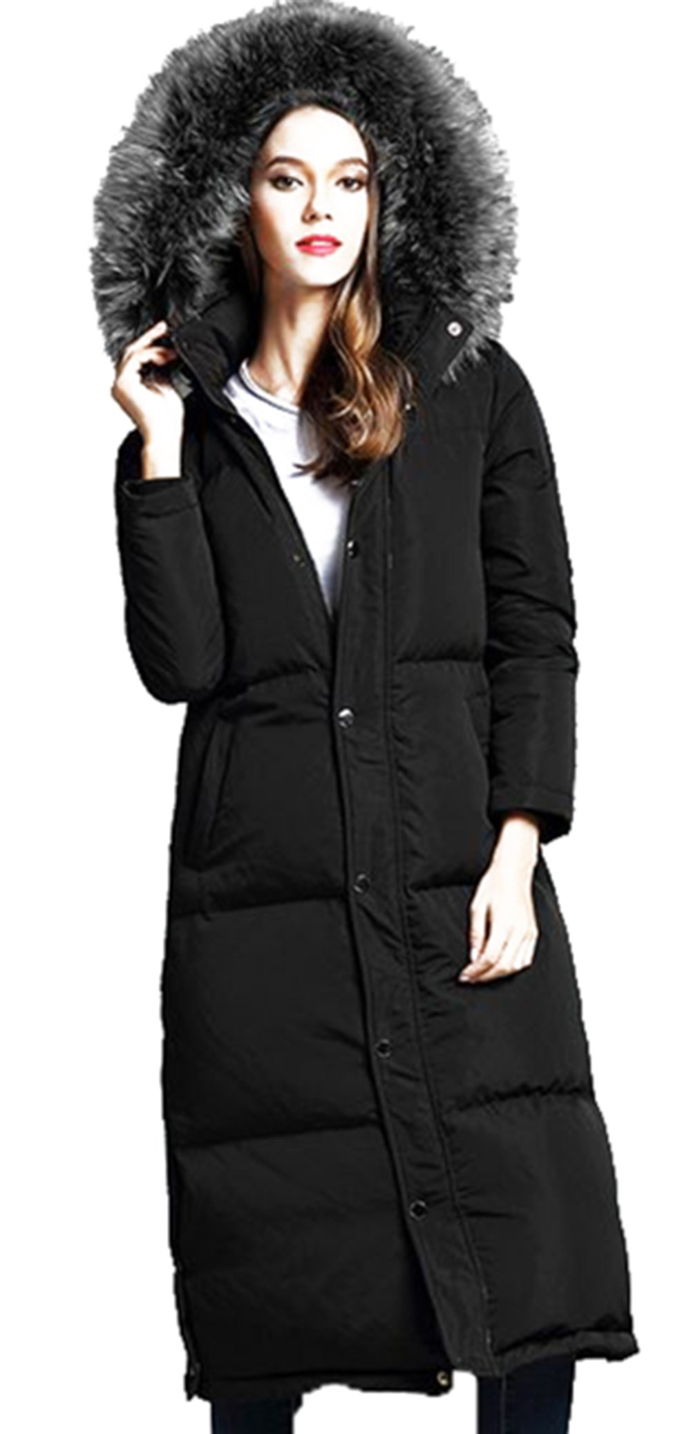 unkonw Women's Thicker Down Jacket With Removable Hood Fur For Winter (M, Black)