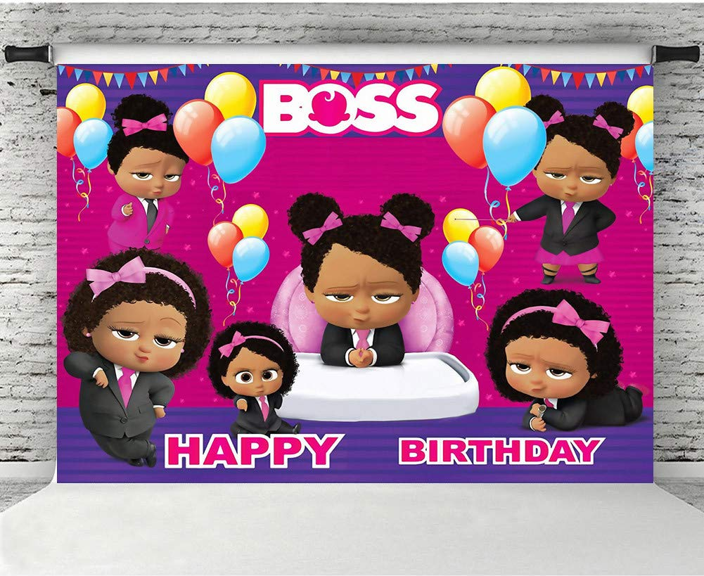 Mmy 7x5ft Boss Baby Theme Photography Backdrop Girls Happy Birthday Baby Shower Party Pink Background Cake Table Large Banner Photo Booth Props