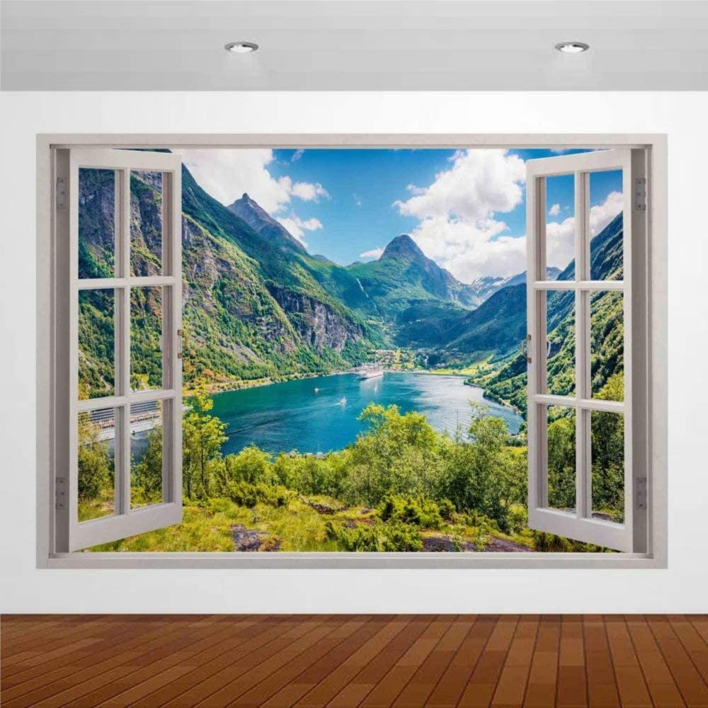 Amazon Com Nature Beautiful Lake Mountain Cruise Boat Norway3d Wall Mural Sticker Fake Open Window Wall Art Removable Vinyl Decals For Bedroom Living Room Playroom Nursery Kitchen Dining