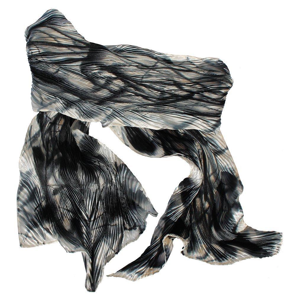 Black Grey, White and Beige Hand Painted Arashi Shibori Silk Scarf