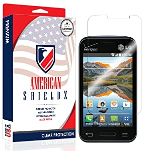 [USA] LG Optimus Zone 2 Screen Protector, American Shieldz Full Coverage Screen Edge-to-Edge, HD Clear Anti-Bubble, Lifetime Replacements