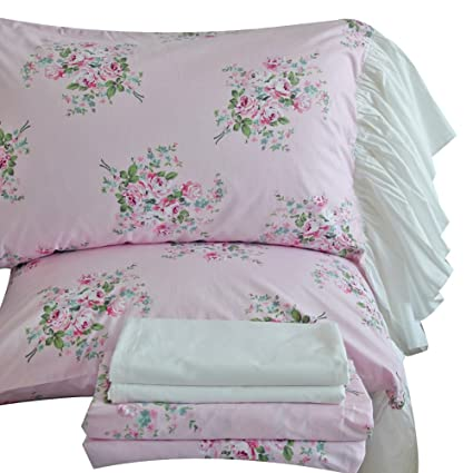 Amazoncom Queens House 4 Piece Cotton Bed Sheets Sets King Size