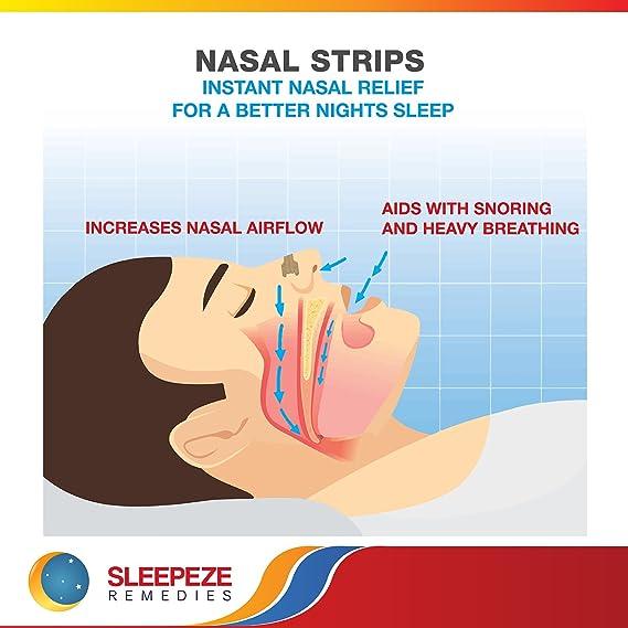 Tiras nasales mediana x60 | Dilatador nasal Sleepeze Remedies® para dejar de roncar y ayudar a breathe | Tiras nasales anti ronquidos de calidad ...