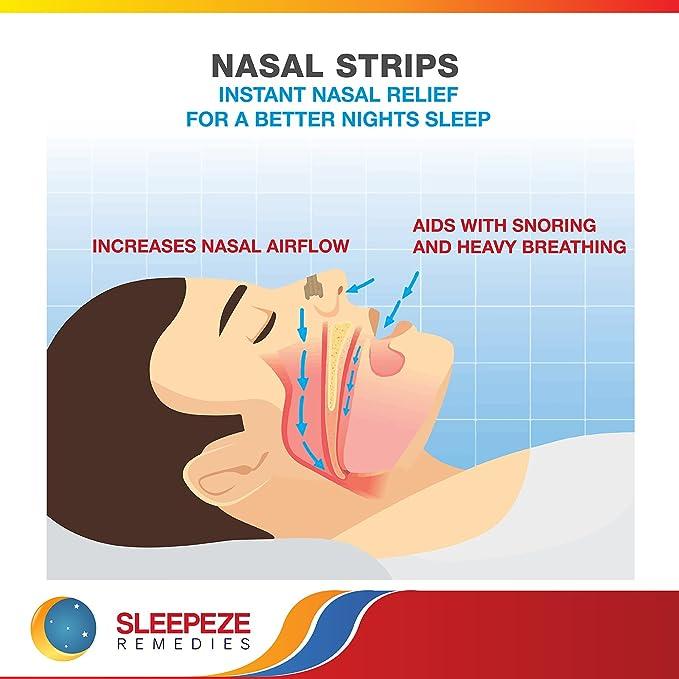 Tiras nasales mediana x60 | Dilatador nasal Sleepeze Remedies® para dejar de roncar y ayudar a breathe | Tiras nasales anti ronquidos de calidad Premium que ...