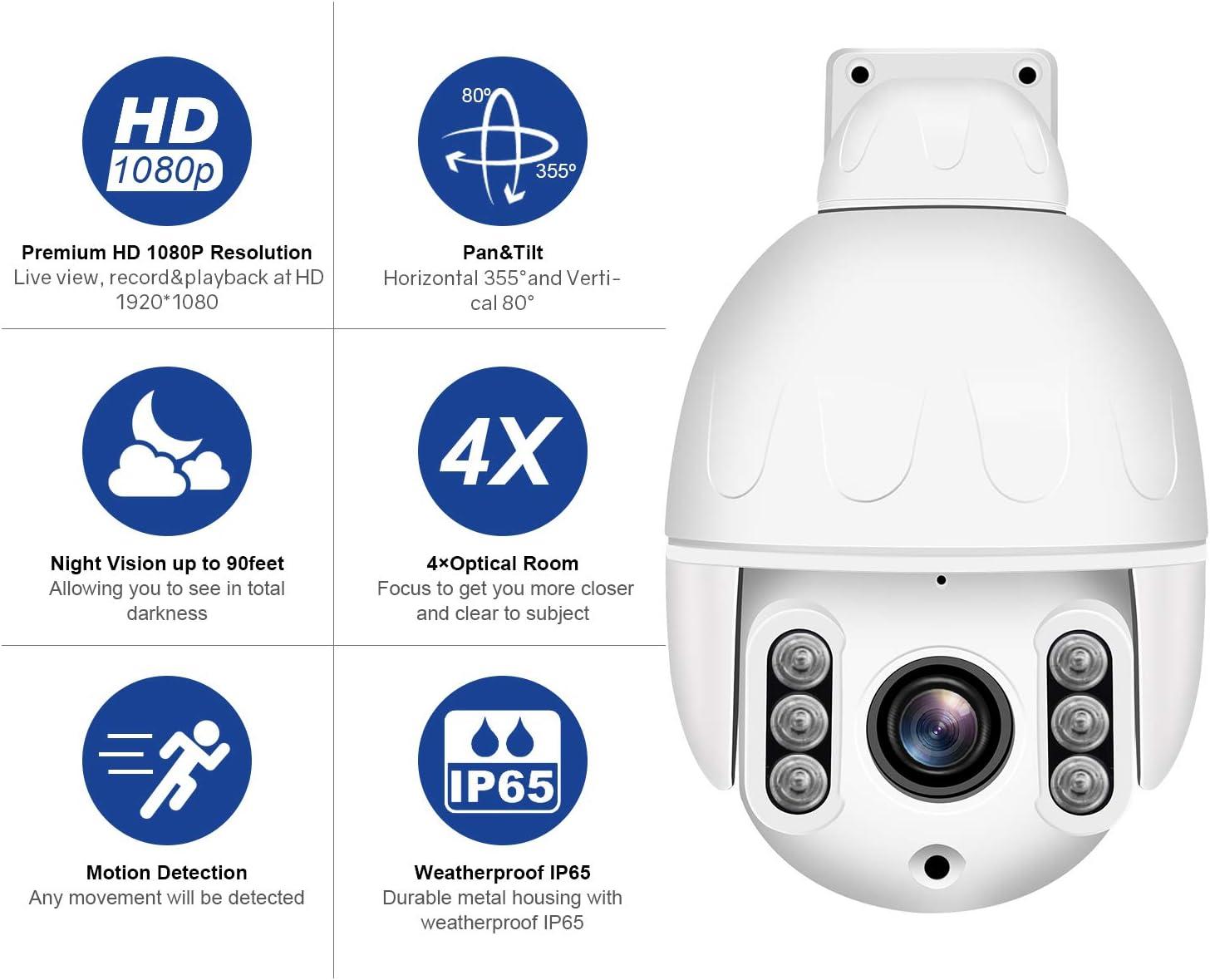 Ranura para Tarjeta SD Externa C/ámara de Seguridad WiFi para Exteriores Dericam Mini 1080P /ángulo de visi/ón de 90/° Enfoque autom/ático S2C,Negro visi/ón Nocturna de 30m 4X PTZ /óptico