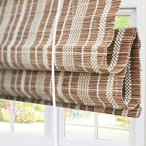 Bamboo Roman Window Shades Blinds, Light Filtering UV Protection Shades with Valance, 74 W x 60 L, Pattern 12