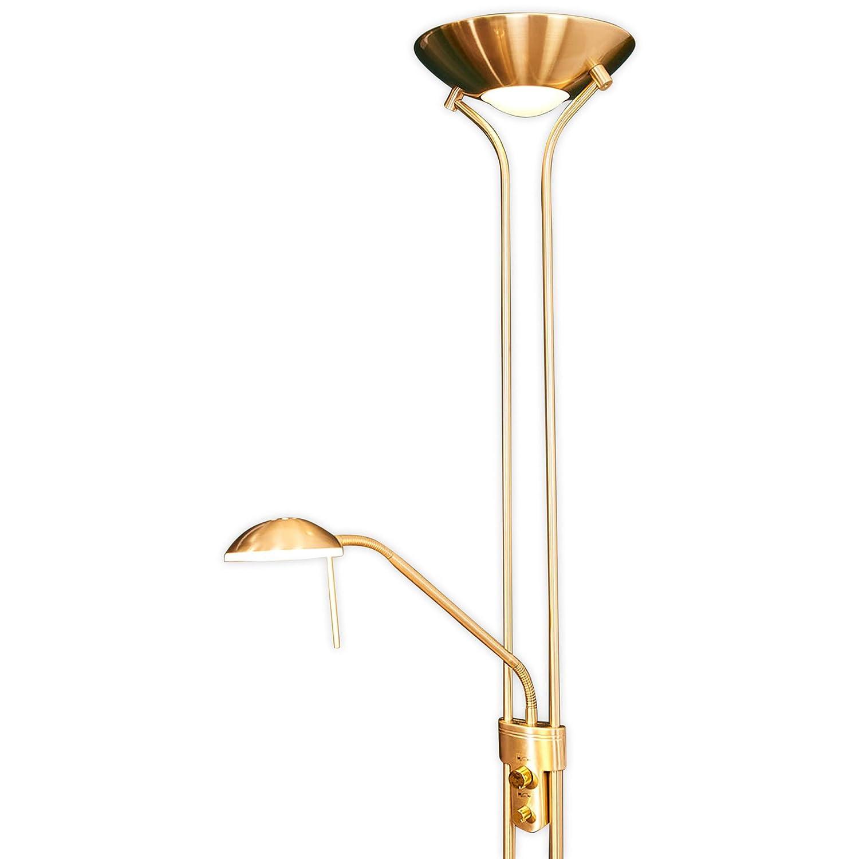 Lampenwelt LED Stehlampe 'Josefin' dimmbar in Gold/Messing aus Metall u.a. für Wohnzimmer & Esszimmer (A+, inkl. Leuchtmittel) | Wohnzimmerlampe, Stehleuchte, Floor Lamp, Deckenfluter, Standleuchte