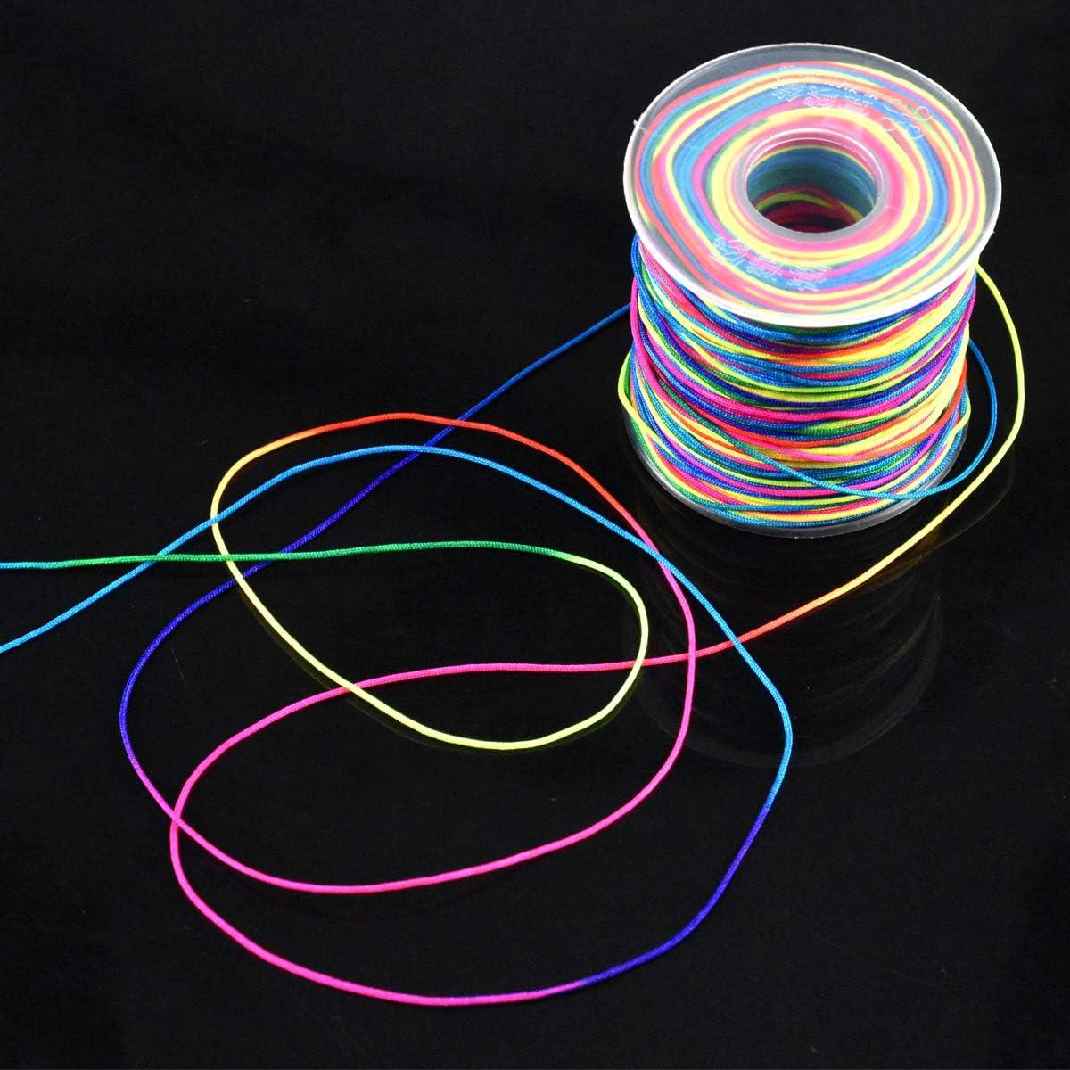 Stringa Corda Multicolore per la Creazione di Gioielli Braccialetto Collana HQdeal Cordone Arcobaleno Cordone Perline Cordoncino Artigianale 0.8 mm X 100 m Fili Perline Nylon