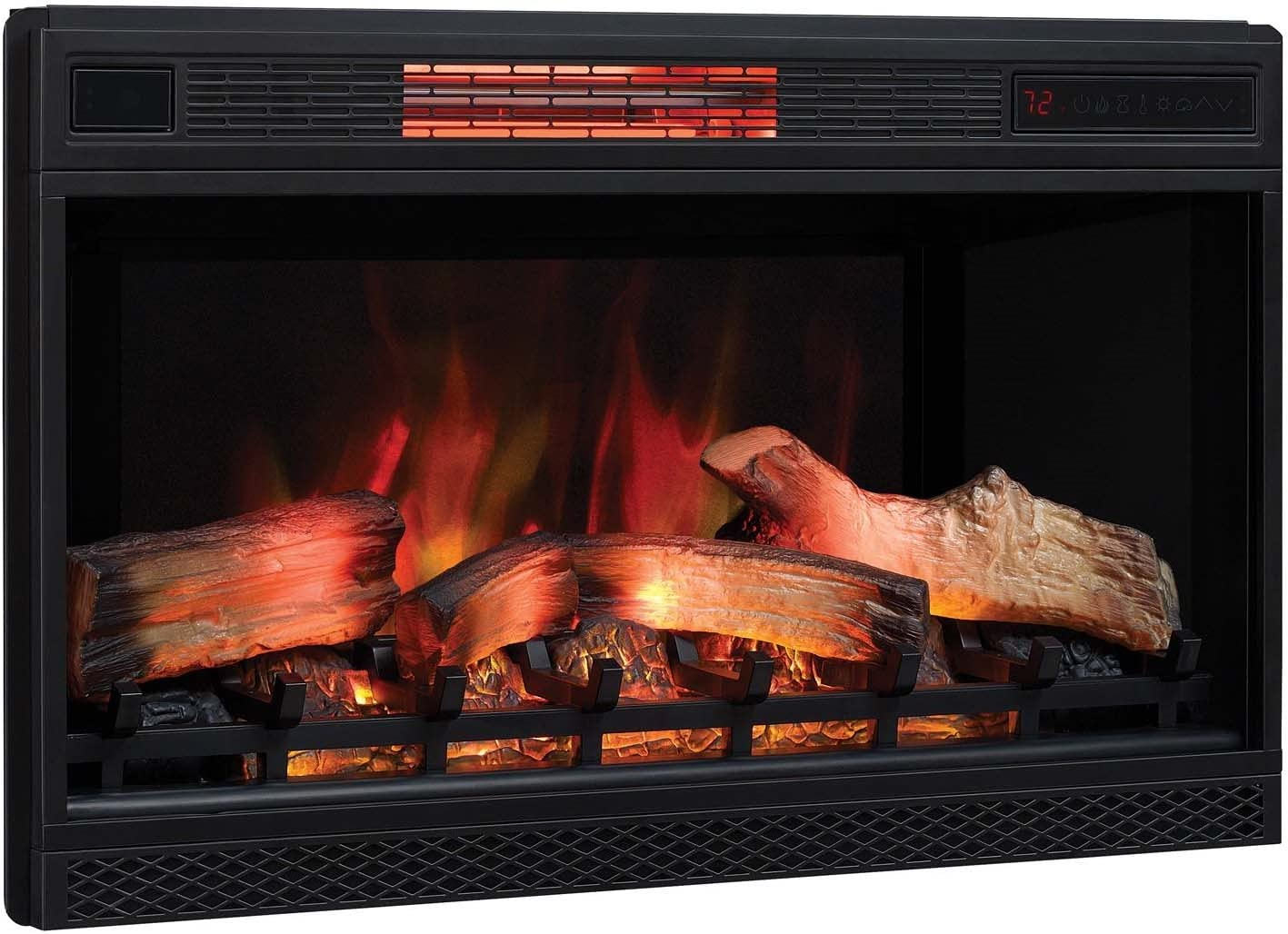 """Classic Flame 3D Infrared Quartz Electric Fireplace Insert Plug and Safer Sensor, 32"""","""