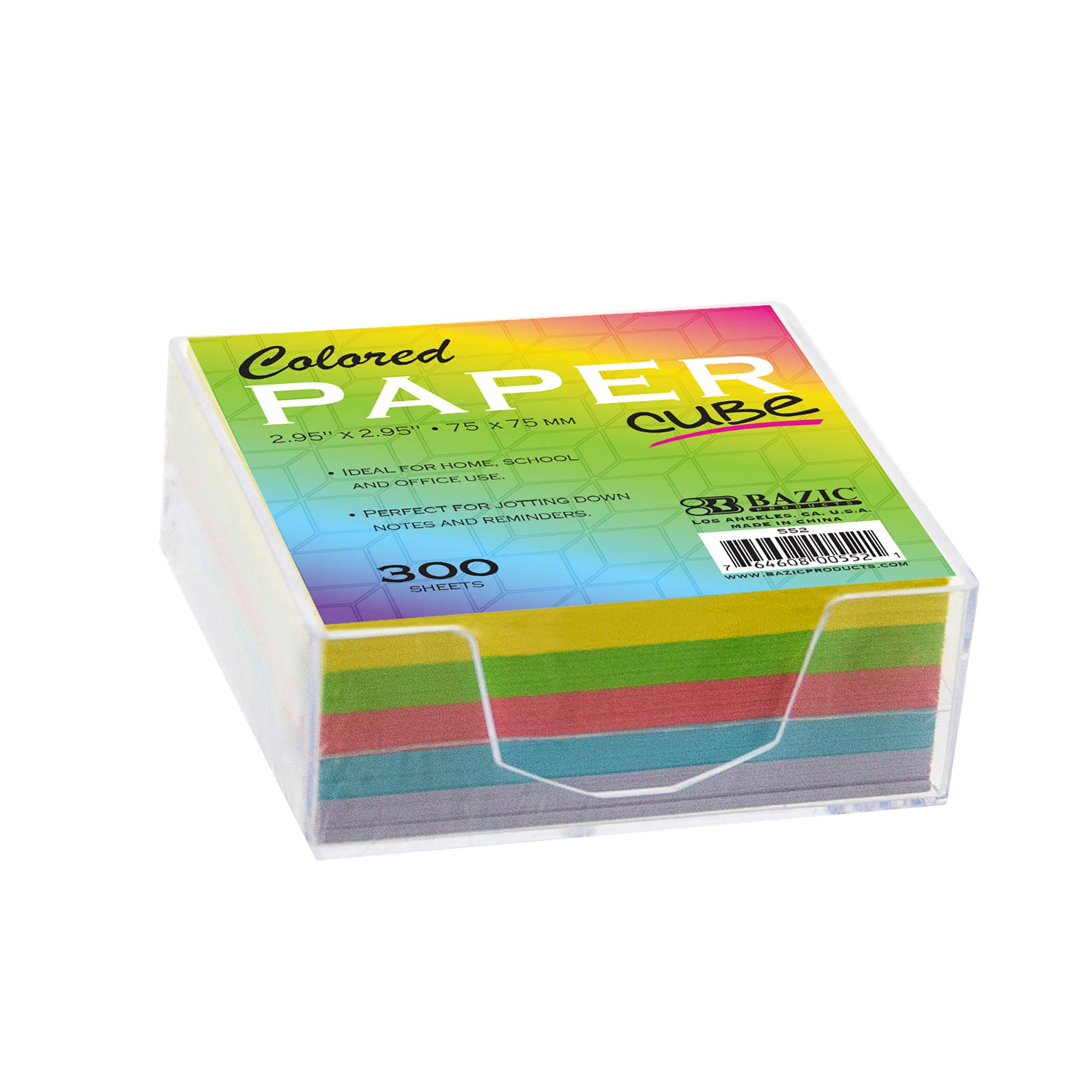 BAZIC 75mm X 75mm 300 Ct. Color Paper Cube w/Tray (Case of 36) by B BAZIC PRODUCTS