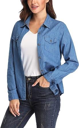 Dilgul Camisa Vaquera Mujer Jeans Camisa Denim Shirt Blusa con Bolsillos Casual Azul Oscuro X-Small: Amazon.es: Ropa y accesorios