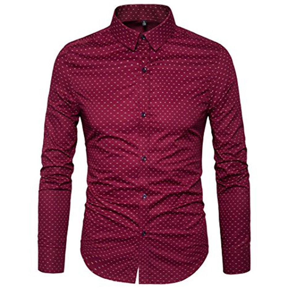 AIYINO Mens Slim Fit Long Sleeve Plaid Printings Business Checked Shirt