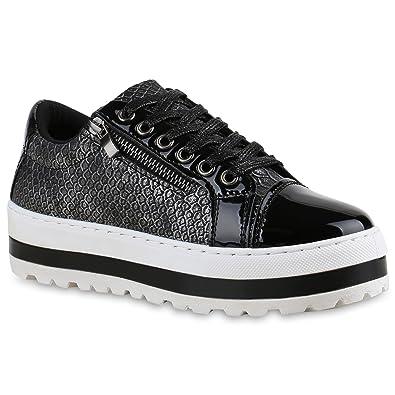 Stiefelparadies Damen Sneakers Schleifen Metallic Kappe Sneaker Low Velours  Lack Freizeit Zipper Schuhe 135258 Schwarz Glanz