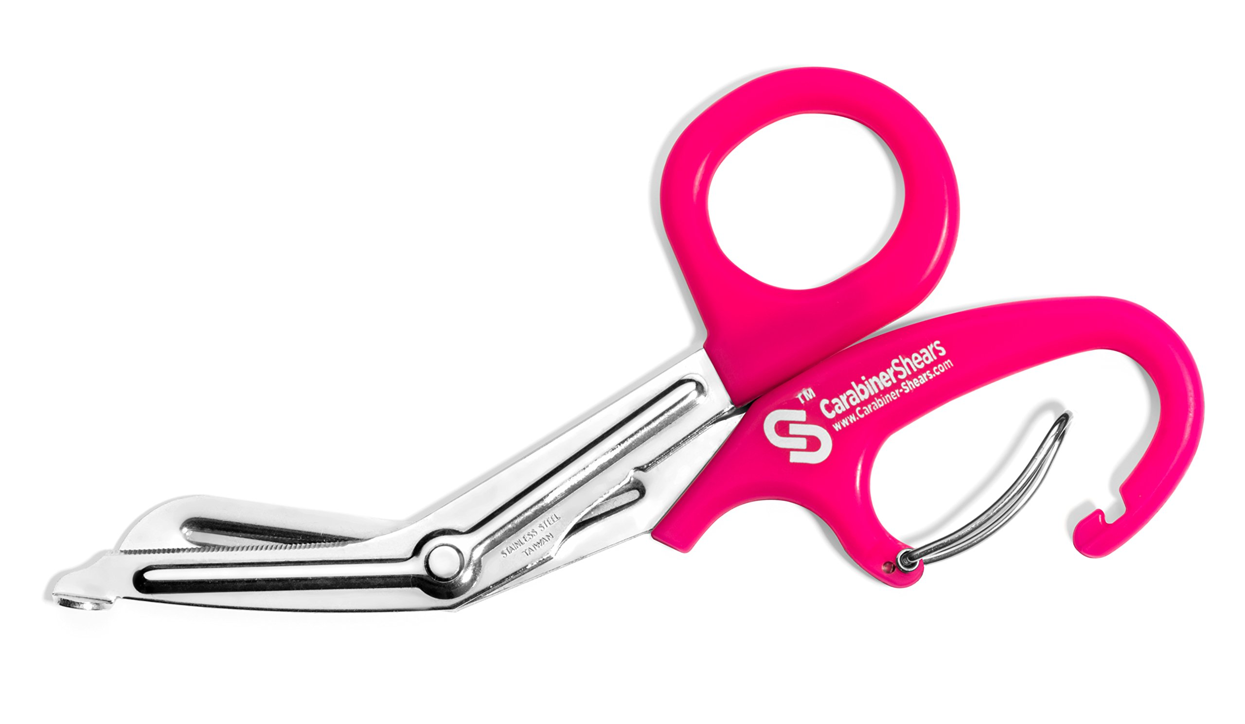 EMT Trauma Shears with Carabiner - Stainless Steel Bandage Scissors for Surgical, Medical & Nursing Purposes - Sharp Curved Scissor is Perfect for EMS, Doctors, Nurses, Cutting Bandages (Pink) by Carabiner-Shears