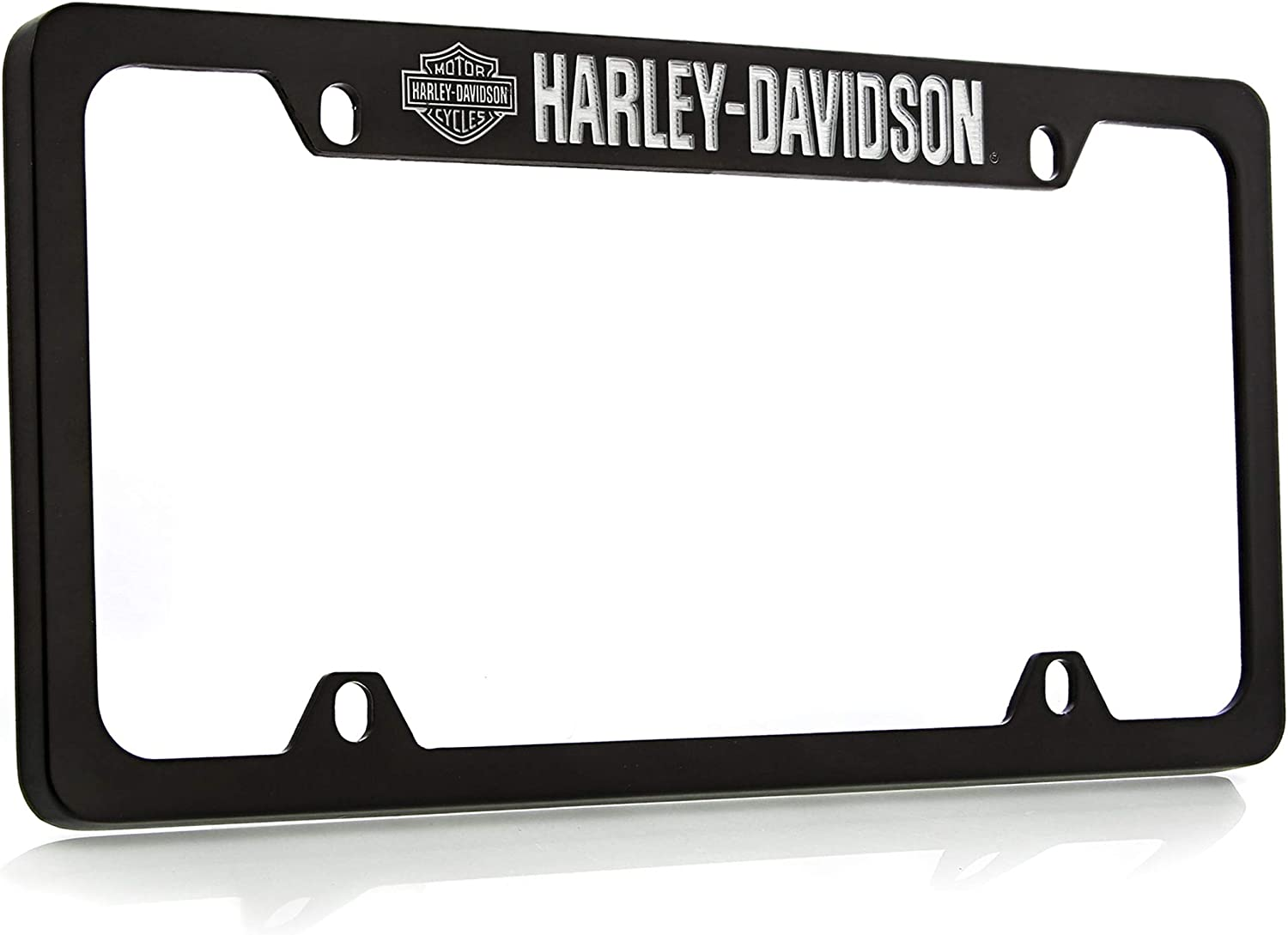 Harley-Davidson Black Powder Coated License Plate with Color Bar /& Shield