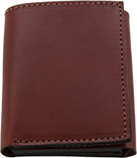 product image for Premium Full Grain Bridle Leather Men's Trifold Wallet With ID Window – Medium Brown - Made in USA