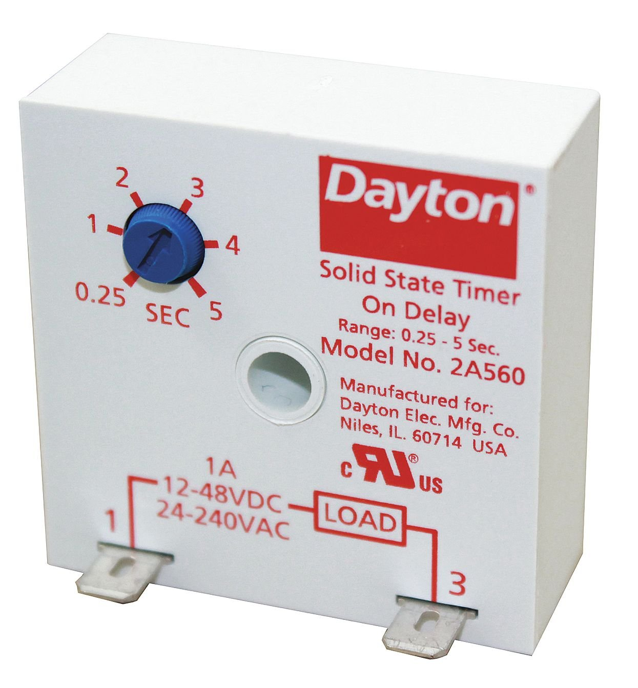 1A 2A560 Solid State Dayton Encapsulated Timer Relay