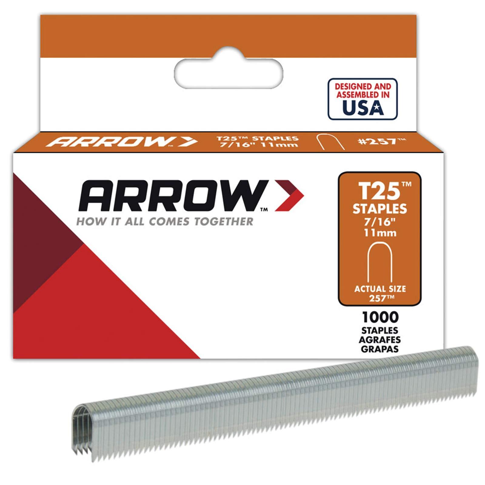 Arrow Fastener 257 Genuine T25/T2025 7/16-Inch Staples, 1,000-Pack