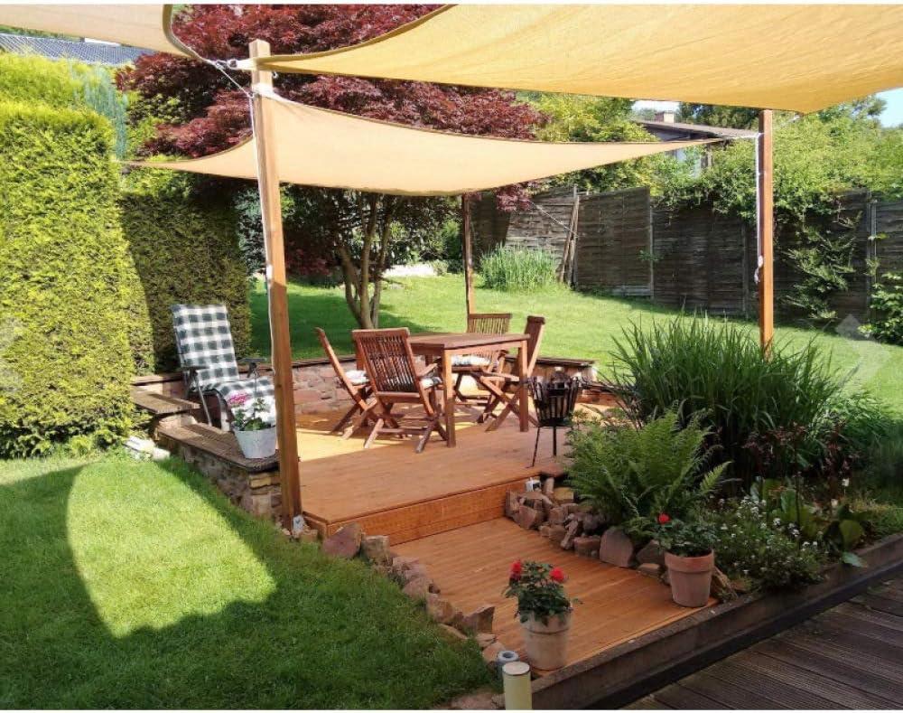 Patio Garden Terrace Shade Waterproof Sunscreen With Rope Rectangular Shade Sail/2x4m/