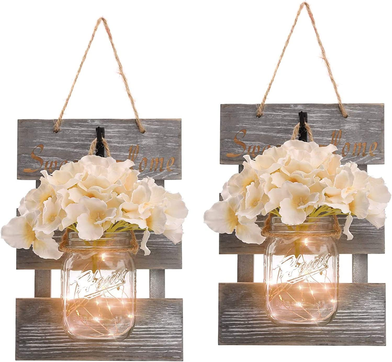 Mason Jar Sconces Wall Decor-CdongDecorative Chic Hanging Mason Jars with LED Strip Lights, 6-Hour Timer, Silk Hydrangea, Iron Hooks for Home,Living Room,Bedroom Decorations [Set of 2], Grey