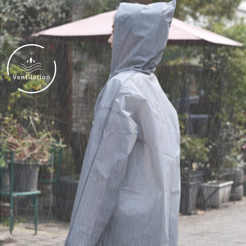 BEIFON 2 STK Damen Herren Transparent Regenmantel Wasserdicht Regenponcho Wiederverwendbar Regencape Regenjacke Regenbekleidung f/ür Wandern Radfahren Camping und Reisen Grau