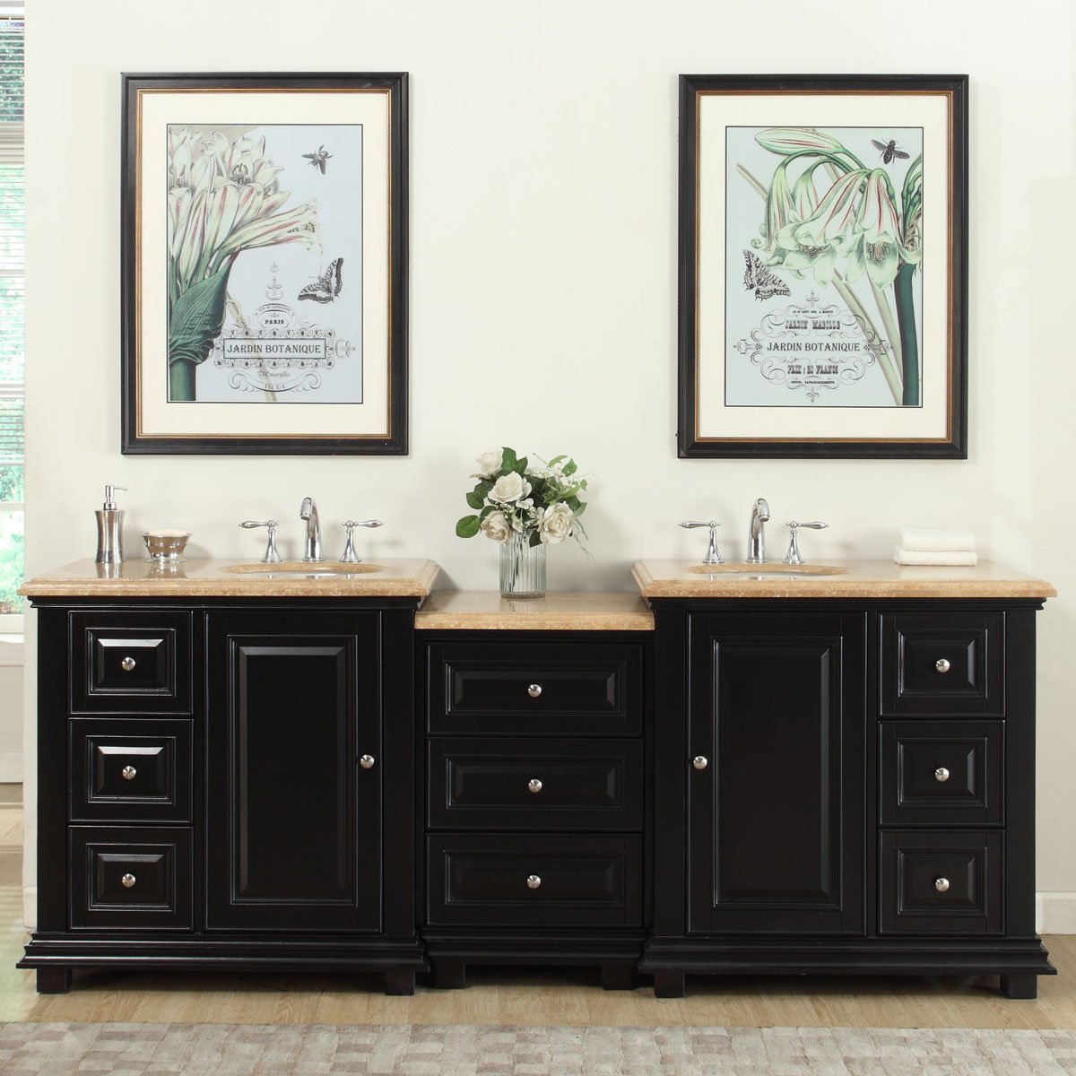 Silkroad Exclusive Bathroom Vanity Travertine Top Double Sink Cabinet, 90.5''