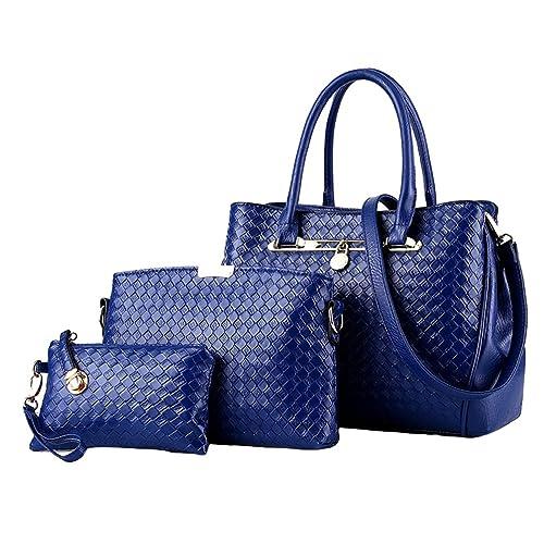 8c9d64775 YAANCUN Mujeres Bolsos De Moda,PU Piel Bolso De Mano Monedero Bolsas De 3  Piezas Azul Oscuro: Amazon.es: Zapatos y complementos