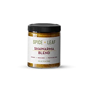 Premium Shawarma Spice Blend by SPICE + LEAF - Vegan Pesticide Free Spice Blend Usedto Give Vegetables, Meat, and Poultry a Middle Eastern Flavor, 3.5 oz.