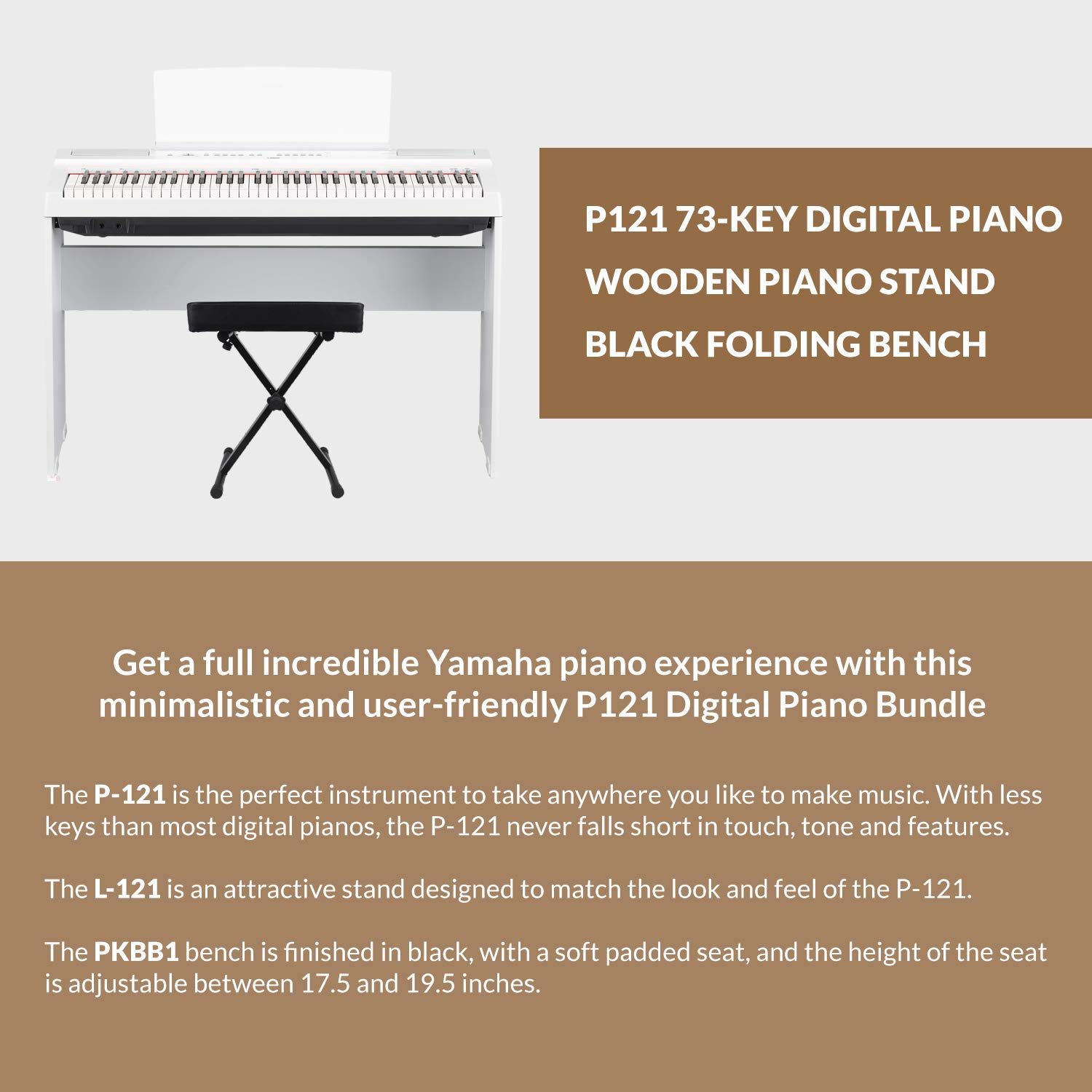 Yamaha P121 73-Key Weighted Action Digital Piano - White with Matching L121 White Furniture Stand and Bench by Yamaha Bundle (Image #5)