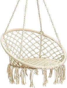 Karriw Hammock Chair Macrame Swing,Cotton Hanging Macrame Hammock Swing Chair Ideal for Indoor, Outdoor, Home,Bedroom, Patio, Deck, Yard, Garden (Beige)