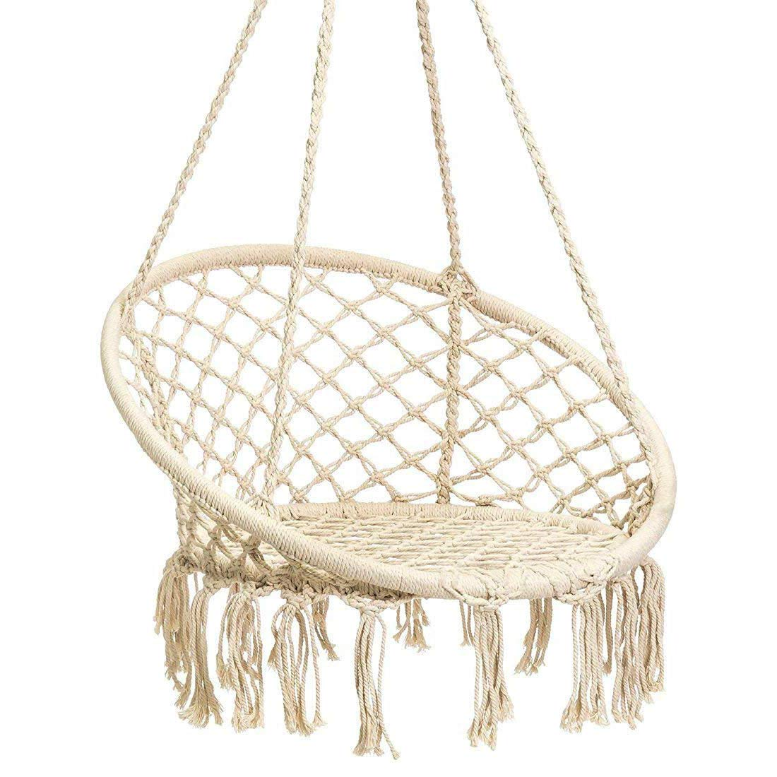 Techcell Hammock Chair Macrame Swing,Cotton Hanging Macrame Hammock Swing Chair Ideal for Indoor, Outdoor, Home,Bedroom, Patio, Deck, Yard, Garden (Beige)