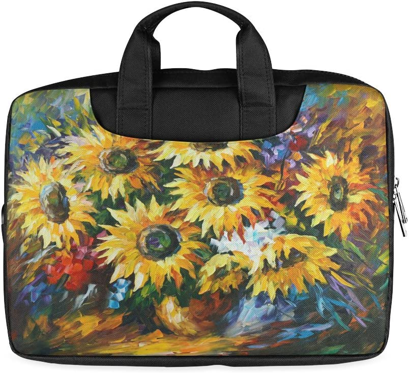 Laptop Notebook Summer Beautiful Yellow Sunflower Handle Sleeve Bag Case Cover for 11 inches MacBook Pro Twin Sides Printing