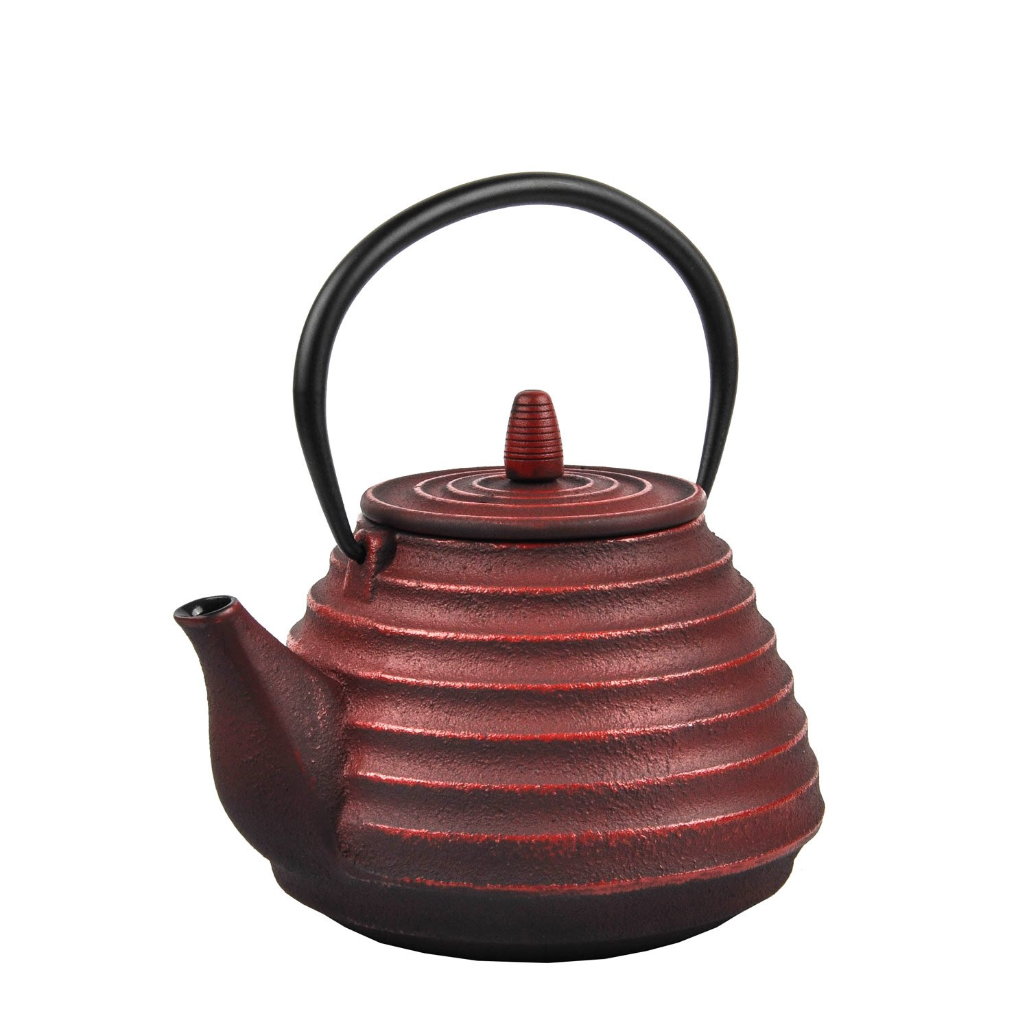 Spigo Sencha Cast Iron Enamel With Stainless Steel Infuser Teapot Red 33 Ounces