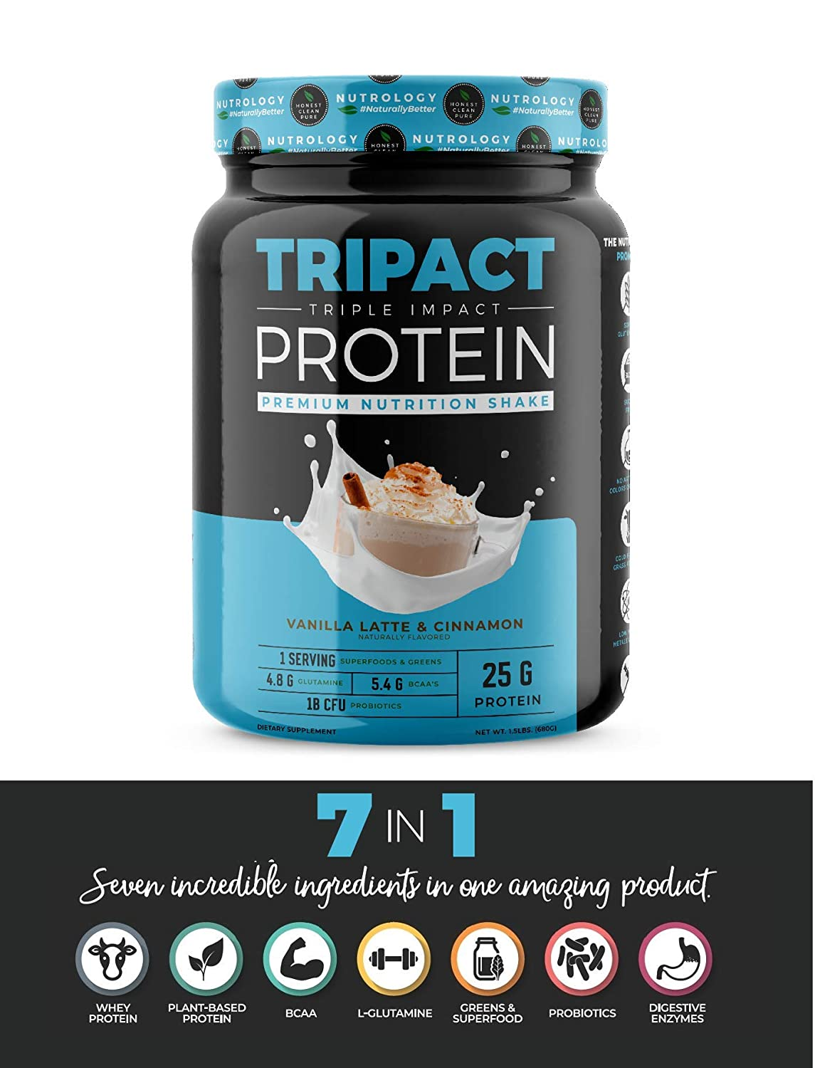 TRIPACT Protein – Vanilla Latte with Cinnamon 1.5lb. – Premium Nutrition Shake Featuring Non-GMO Grass Fed Whey Protein, Plant Proteins, Greens, Superfoods and Probiotics.