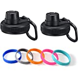 Vmini Spout Lid, Compatible with Hydro Flask Wide Mouth Sports Water Bottle, 5 Rubber Rings, Big Handle, Easy to Carry, Compa