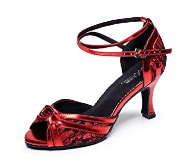 JSHOE Damen Spitze Tanzschuhe Latin Salsa/Tango/Tee/Samba/Modern/Jazz Schuhe Sandalen High HeelsRed-heeled7.5cm-UK5.5...