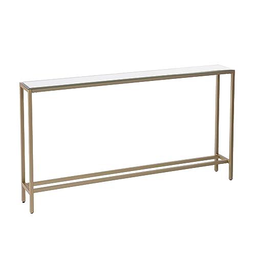 Metal Skinny Console Table – Slim Profile w Mirror Top 56×30