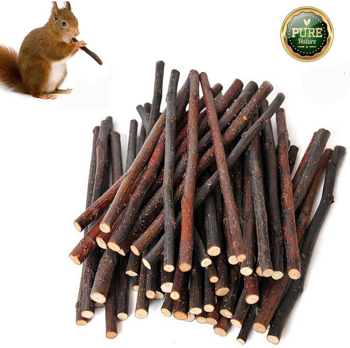 Simona Micah Organic Apple Sticks Wood Tree Branches Pet Snacks Chew Toys Branch Guinea Pigs Chinchilla Squirrel Rabbits Hamster Small Animals (500g)