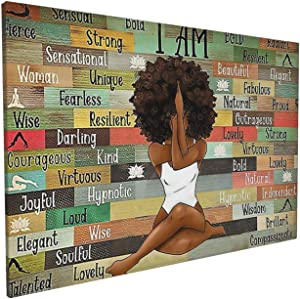 African American Gifts For Black Women Wall Art Wood Canvas Wall Art Print Picture Painting Home Decor For Living Room Dining Room Bedroom Kitchen Bathroom Office Decoration Ready To Hang 16x24inch
