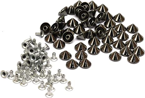 Punk Stud Cone Spike Spot Rivets for DIY Leathercraft Clothes Belt Jacket 100pcs