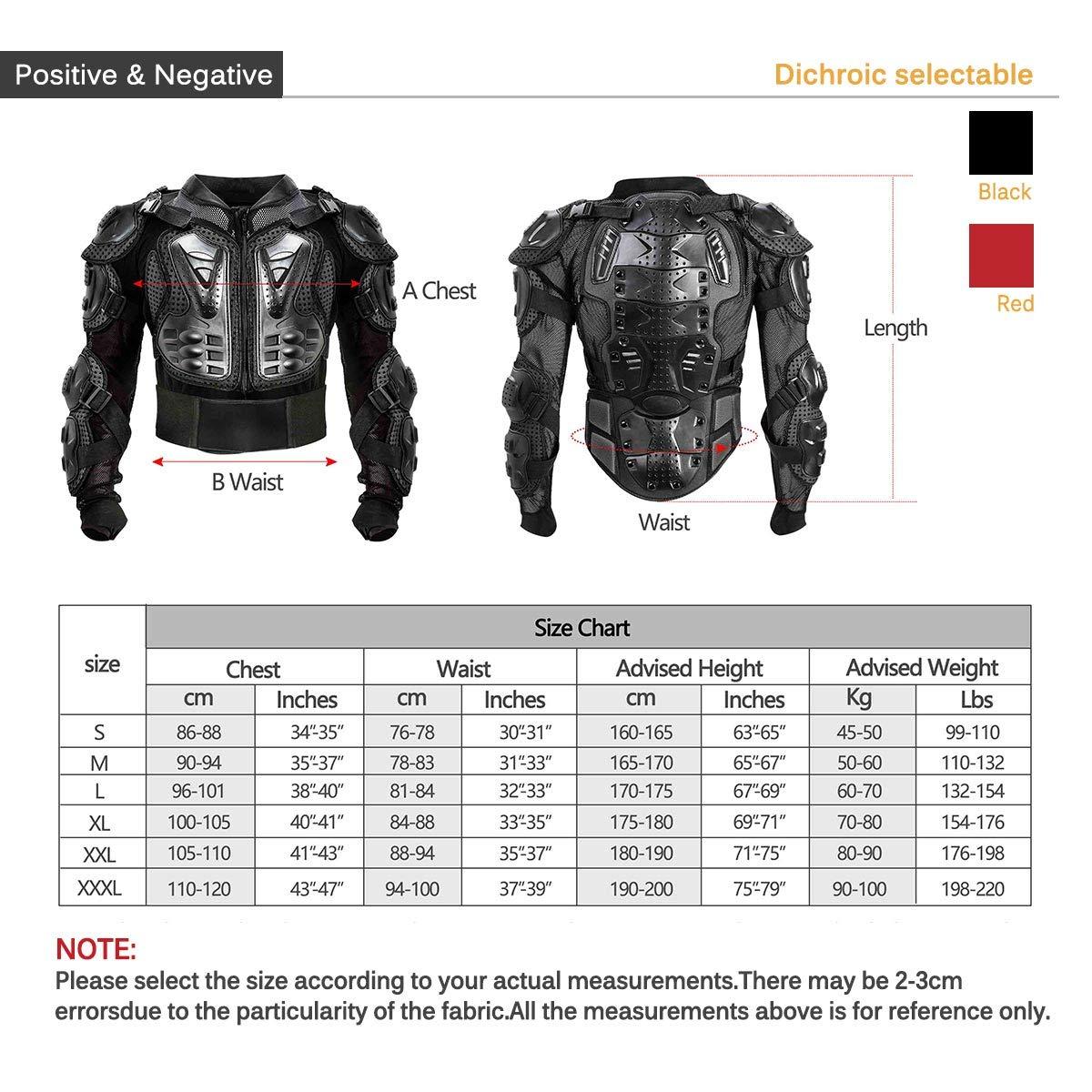 Rojo, XXL KINGUARD Chaqueta de Moto Chaqueta Protectora Cuerpo Armadura Profesional de Motocicleta Protecci/ón del Cuerpo Entero Spine Chest para Hombres Mujeres