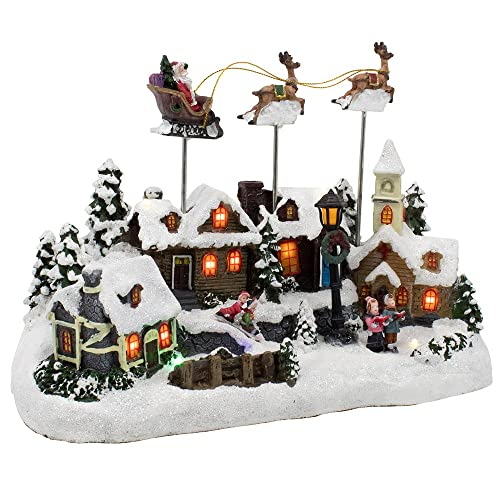kurt adler c5605 battery operated musical led village with santa and deer 11 inch - Christmas Village Decorations